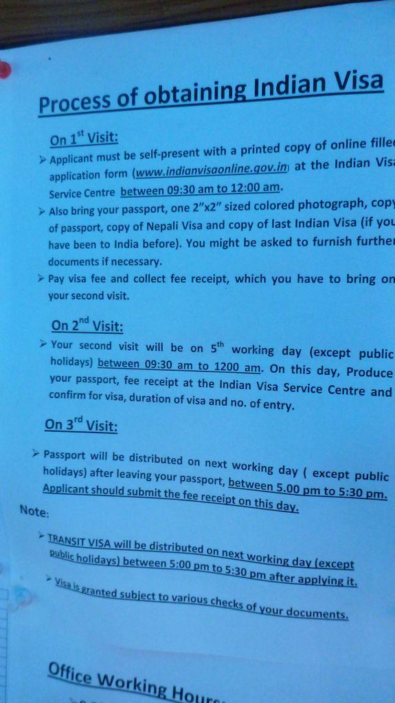 Processus pour obtenir le visa indien à Katmandou